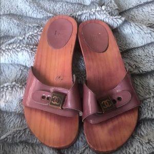 Chanel wooden clog sandals
